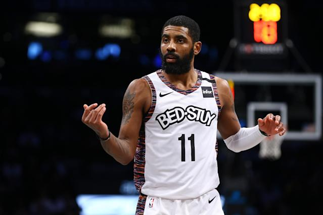 Kyrie Irving is giving the players a voice. (Photo by Mike Stobe/Getty Images)
