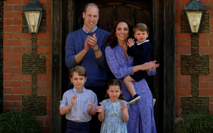 William, Kate and the children clapping for the NHS at Anmer Hall, Norfolk during the BBC Big Night Out - BBC