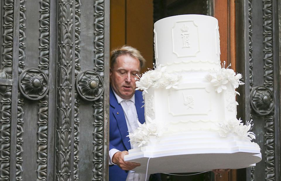 ST PETERSBURG, RUSSIA - OCTOBER 1, 2021: A cake mockup is delivered at the Russian Museum of Ethnography for a reception marking the wedding of Grand Duke George Mikhailovich of Russia, a descendant of the Romanov dynasty, and Rebecca (Victoria) Bettarini of Italy. Peter Kovalev/TASS (Photo by Peter Kovalev\TASS via Getty Images)