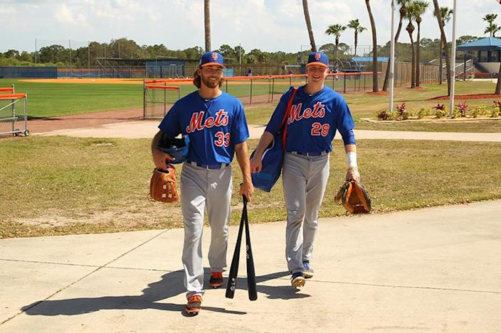 <p>New York Mets prospects outfielder Gene Cone and catcher Dan Rizzie look happy that practice is over at the Mets spring training facility at First Data Field in Port St. Lucie, Fl., Thursday, March 2, 2017. Cone and Rizzie played for the Brooklyn Cyclones last season. (Gordon Donovan/Yahoo Sports) </p>