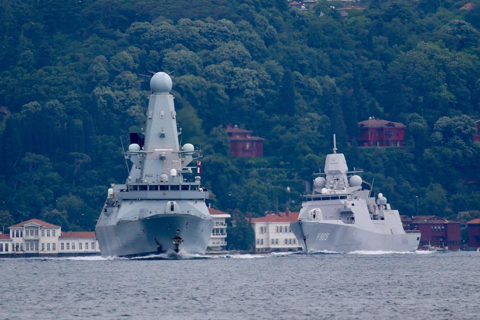FILE PHOTO: Royal Navy's Type 45 destroyer HMS Defender sets sail in the Bosphorus, on its way to the Black Sea on June 14 (REUTERS)