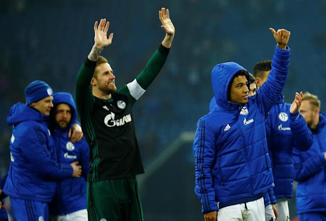 Soccer Football - Bundesliga - Schalke 04 vs TSG 1899 Hoffenheim - Veltins-Arena, Gelsenkirchen, Germany - February 17, 2018 Schalke's Thilo Kehrer celebrates after the match REUTERS/Leon Kuegeler DFL RULES TO LIMIT THE ONLINE USAGE DURING MATCH TIME TO 15 PICTURES PER GAME. IMAGE SEQUENCES TO SIMULATE VIDEO IS NOT ALLOWED AT ANY TIME. FOR FURTHER QUERIES PLEASE CONTACT DFL DIRECTLY AT + 49 69 650050