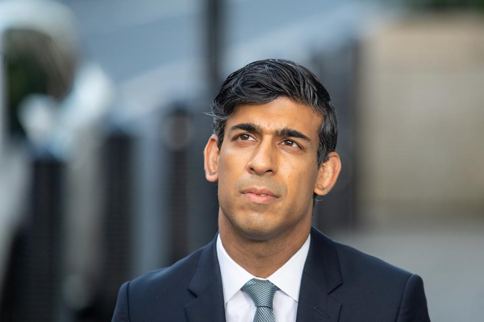 Chancellor of the Exchequer Rishi Sunak is interviewed via videolink for Sky News' Sophy Ridge on Sunday, outside BBC Broadcasting House in central London.