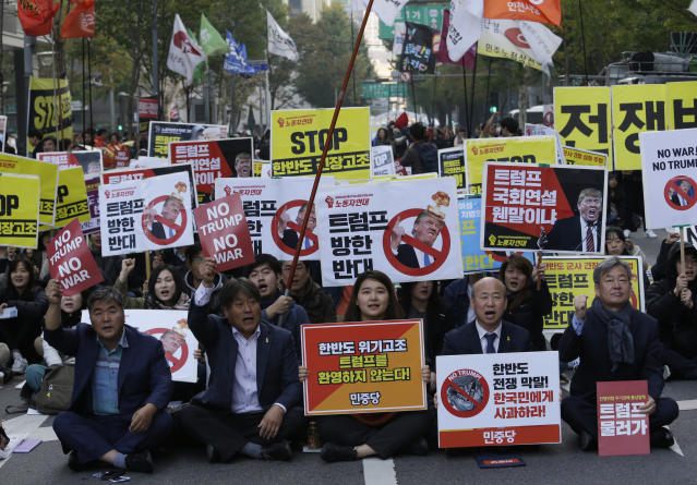 <p>Protesters stage a rally to oppose a planned visit by the President Donald Trump in Seoul, South Korea, Saturday, Nov. 4, 2017. (Photo: Ahn Young-joon/AP) </p>