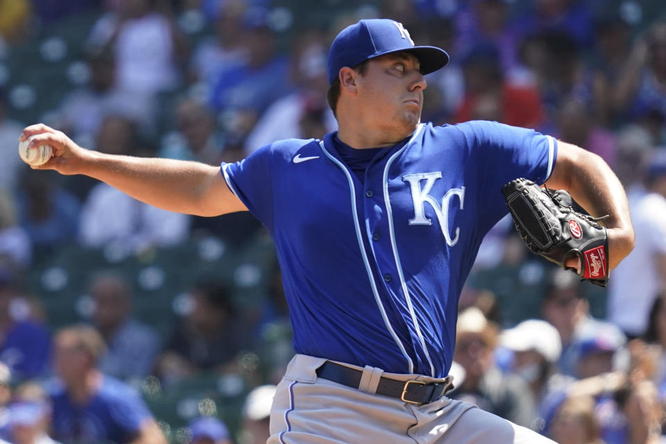 Kansas City Royals starting pitcher Brad Keller throws against the Chicago Cubs in the first inning of a baseball game Friday, Aug. 20, 2021, in Chicago. (AP Photo/Nam Y. Huh)