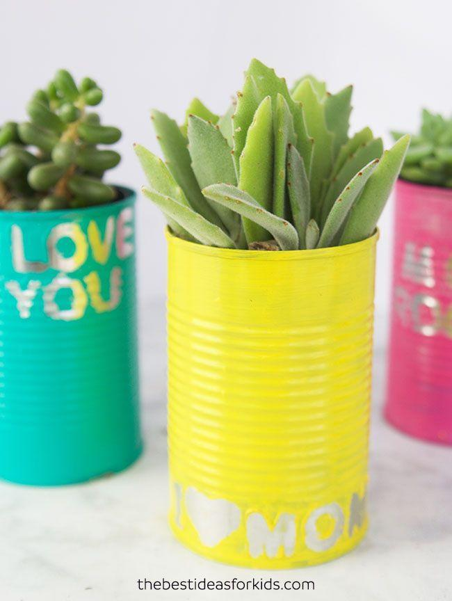 "<p>Mom will have the most loved-up garden on the block thanks to these personalized planters. Little ones can decorate the cans however they please with alphabet stickers. </p><p><strong>Get the tutorial at <a href=""https://www.thebestideasforkids.com/tin-can-planters/"" rel=""nofollow noopener"" target=""_blank"" data-ylk=""slk:The Best Ideas for Kids"" class=""link rapid-noclick-resp"">The Best Ideas for Kids</a>. </strong></p><p><strong><a class=""link rapid-noclick-resp"" href=""https://go.redirectingat.com?id=74968X1596630&url=https%3A%2F%2Fwww.walmart.com%2Fip%2FWilton-Sticko-Large-White-Foam-Alphabet-Stickers-104-Piece%2F137126246&sref=https%3A%2F%2Fwww.countryliving.com%2Fdiy-crafts%2Fg4233%2Fmothers-day-crafts-kids%2F"" rel=""nofollow noopener"" target=""_blank"" data-ylk=""slk:SHOP ALPHABET STICKERS"">SHOP ALPHABET STICKERS</a><br></strong></p>"