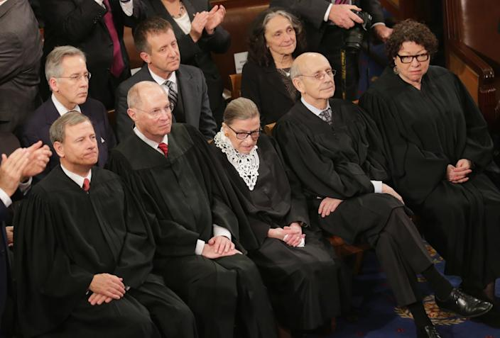 Members of the U.S. Supreme Court at the 2016 State of the Union address.