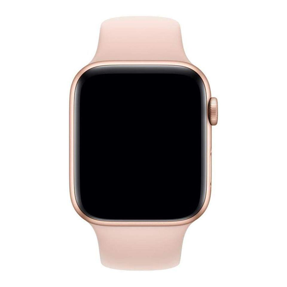 """<p><strong>Apple</strong></p><p>amazon.com</p><p><strong>$44.98</strong></p><p><a href=""""https://www.amazon.com/dp/B07HD33RZR?tag=syn-yahoo-20&ascsubtag=%5Bartid%7C2141.g.23308279%5Bsrc%7Cyahoo-us"""" rel=""""nofollow noopener"""" target=""""_blank"""" data-ylk=""""slk:Shop Now"""" class=""""link rapid-noclick-resp"""">Shop Now</a></p><p>Spiff up Mom's favorite watch with a new band. Made with Apple's custom high-performance fluoroelastomer material, the sport bands both look and feel great during any activity. And they're now available in 13 different colors. <br></p>"""