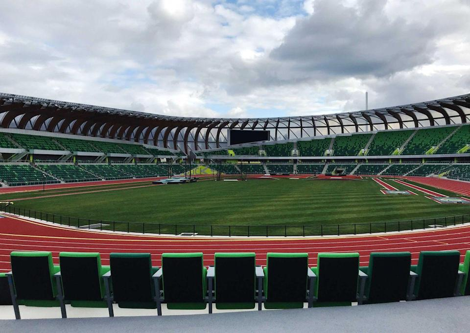 <p>The north end of the track, facing south, has a small number of permanent seats. For large events, like the world championships in 2022, temporary seating will be erected on the north side of the track and will nearly double the stadium's capacity. </p>