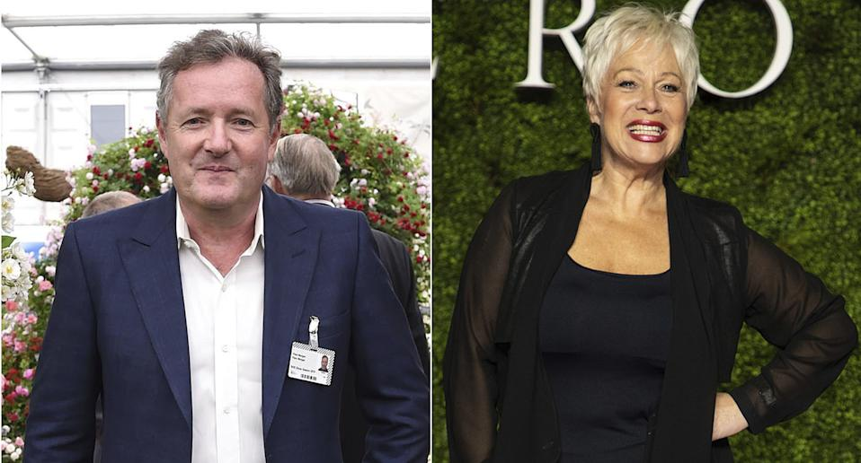 Piers Morgan and Denise Welch have clashed online over handling of the coronavirus pandemic (photos from AP)
