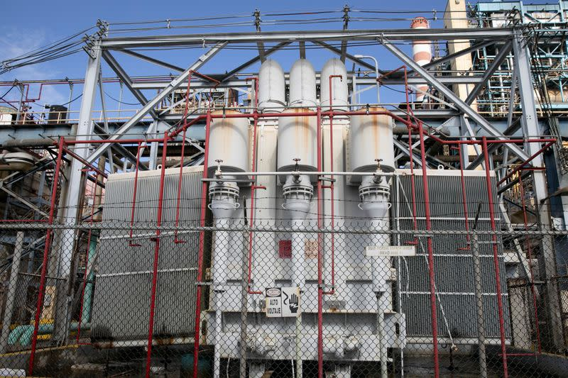 A view of a damaged main power transformer of the Costa Sur power plant after an earthquake in Guayanilla