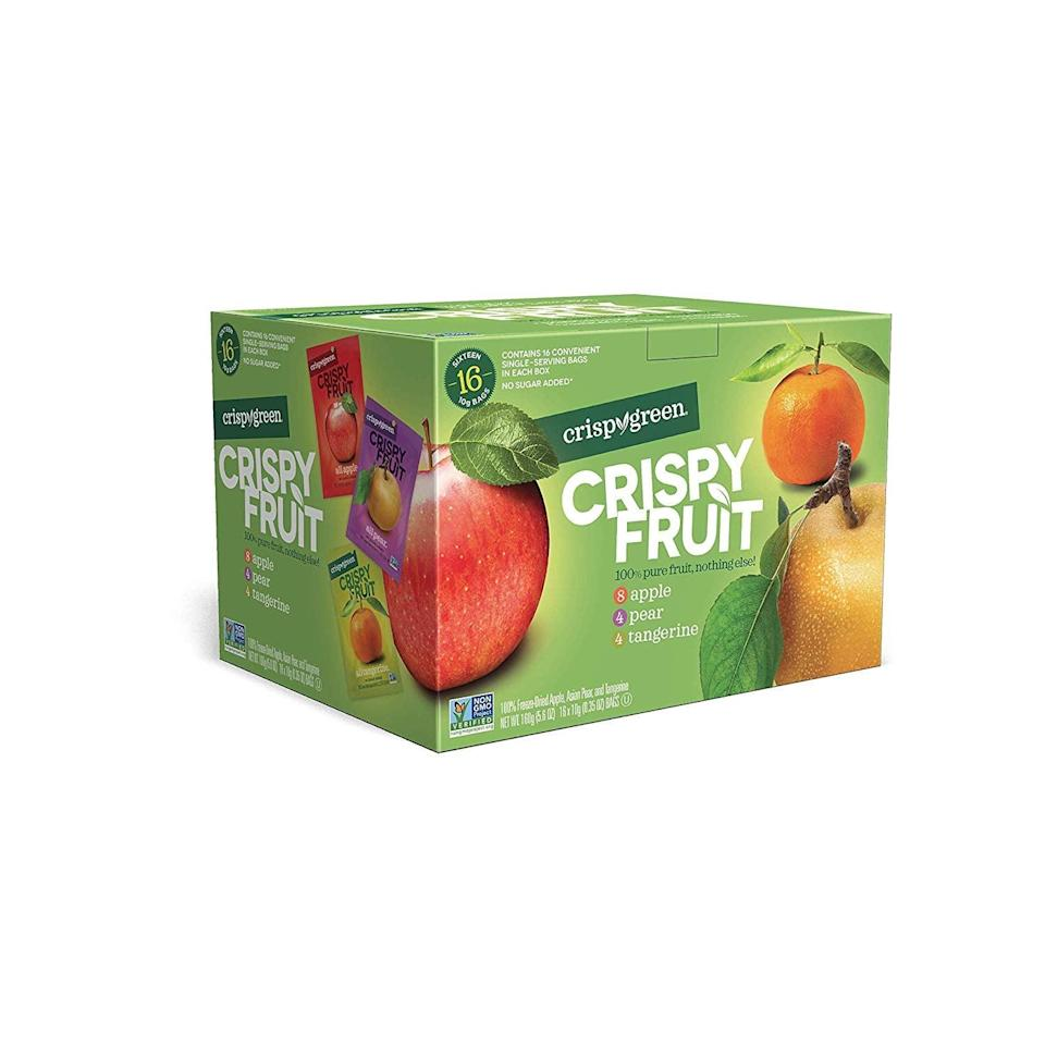 <p>These <span>Crispy Green Freeze-Dried Fruits</span> ($16 for a 16-pack) are a great way to have a crispy, crunchy, and tangy snack without tons of sugar.</p>