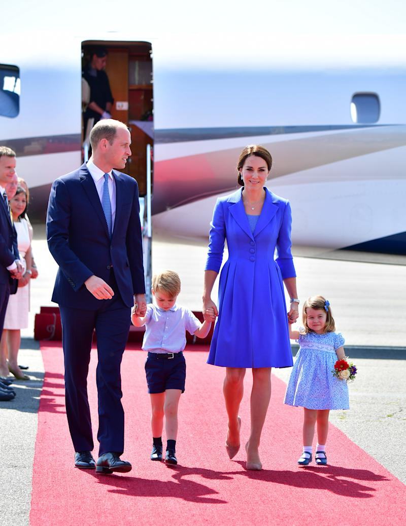 The royal family is currently touring Germany, with stops in Berlin, Heidelberg, and Hamburg. Here, Prince William, little Prince George, Duchess Catherine, and Princess Charlotte arrive in Berlin to a red carpet welcome.