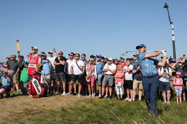 Spectators in shorts at The Open