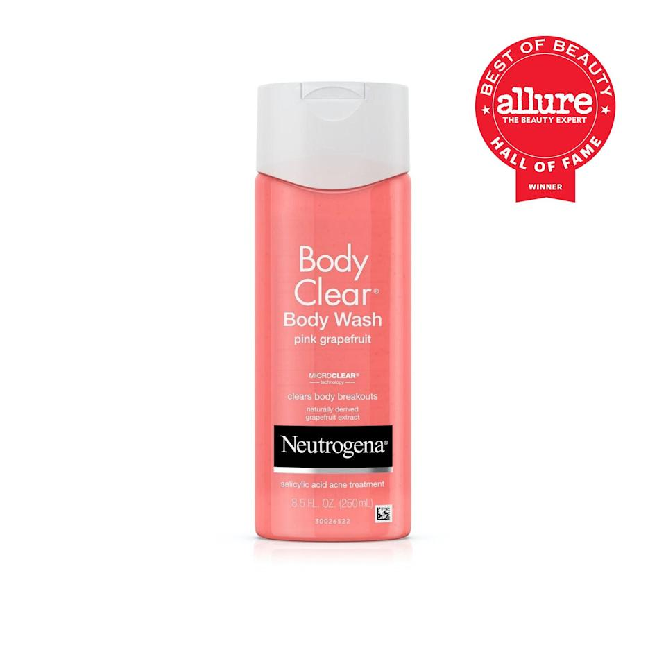 """<p>For so many people, Neutrogena Body Clear Body Wash Pink Grapefruit was the first product that we ever used to address backne and other <a href=""""https://www.allure.com/story/body-acne-rising-stress?mbid=synd_yahoo_rss"""" rel=""""nofollow noopener"""" target=""""_blank"""" data-ylk=""""slk:body breakouts"""" class=""""link rapid-noclick-resp"""">body breakouts</a>; and for so many people, it's still what we turn to when things get bumpy below the neck. Its <a href=""""https://www.allure.com/story/what-does-salicylic-acid-do?mbid=synd_yahoo_rss"""" rel=""""nofollow noopener"""" target=""""_blank"""" data-ylk=""""slk:salicylic acid"""" class=""""link rapid-noclick-resp"""">salicylic acid</a> makes it a no-brainer, especially in the summer or after workouts, and its grapefruit scent has always been the exact amount of cirtrusy but not too sweet. No wonder it's won a literal handful of <a href=""""https://www.allure.com/review/neutrogena-body-clear-body-wash-pink-grapefruit?mbid=synd_yahoo_rss"""" rel=""""nofollow noopener"""" target=""""_blank"""" data-ylk=""""slk:Best of Beauty Awards"""" class=""""link rapid-noclick-resp"""">Best of Beauty Awards</a>.</p> <p><strong>Best of Beauty Awards: 5</strong></p>"""