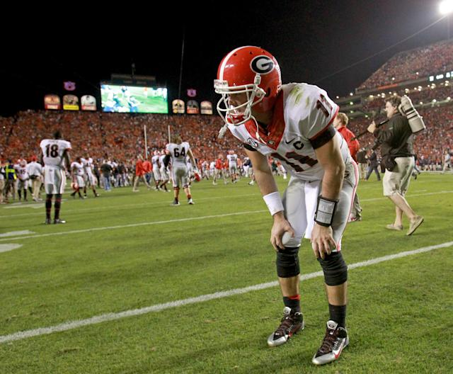 Georgia quarterback Aaron Murray (11) takes a moment to rest after their 43-38 loss to Auburn in an NCAA college football game at Jordan-Hare Stadium on Saturday, Nov. 16, 2013. (AP Photo/Atlanta Journal-Constitution, Jason Getz)