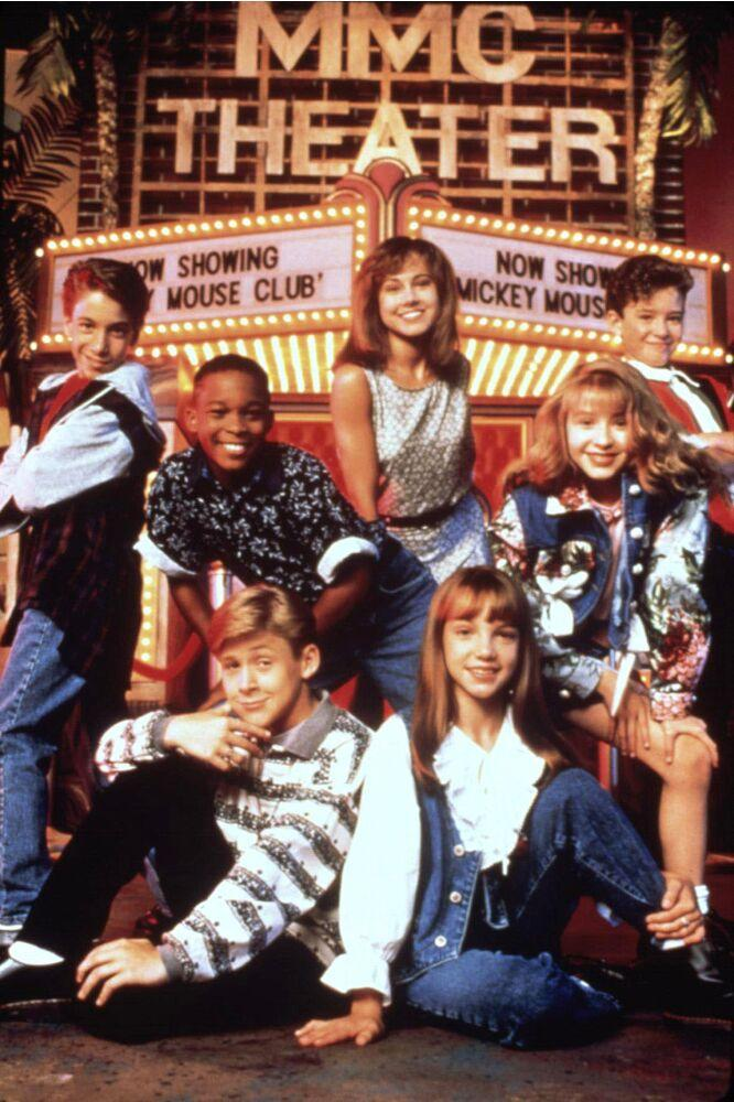 Justin Timberlake (top right) and Ryan Gosling (bottom left) on the set of theMickey Mouse Club | Everett