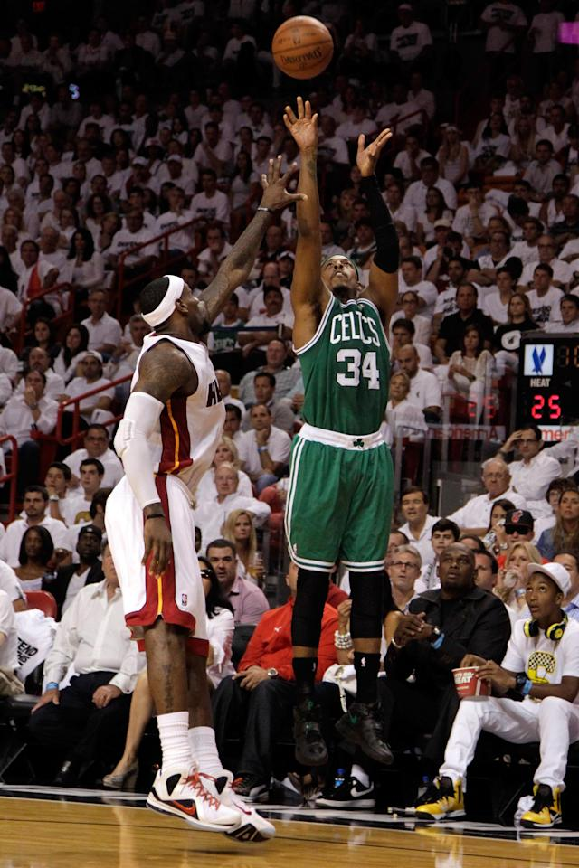 MIAMI, FL - JUNE 09: Paul Pierce #34 of the Boston Celtics shoots over LeBron James #6 of the Miami Heat in the first half in Game Seven of the Eastern Conference Finals in the 2012 NBA Playoffs on June 9, 2012 at American Airlines Arena in Miami, Florida. NOTE TO USER: User expressly acknowledges and agrees that, by downloading and or using this photograph, User is consenting to the terms and conditions of the Getty Images License Agreement. (Photo by Mike Ehrmann/Getty Images)
