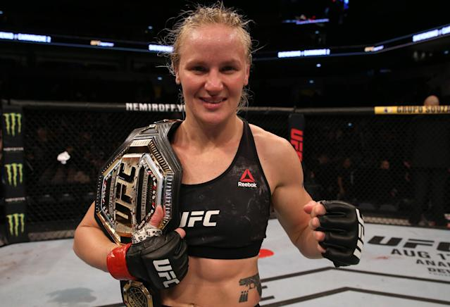 Valentina Shevchenko will defend her UFC flyweight title in February against Katlyn Chookagian. (Photo by Alexandre Schneider /Zuffa LLC/Zuffa LLC)