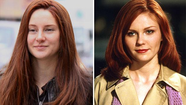 A red-headed Shailene Woodley, left, and Kirsten Dunst's prior portrayal of Mary Jane Watson