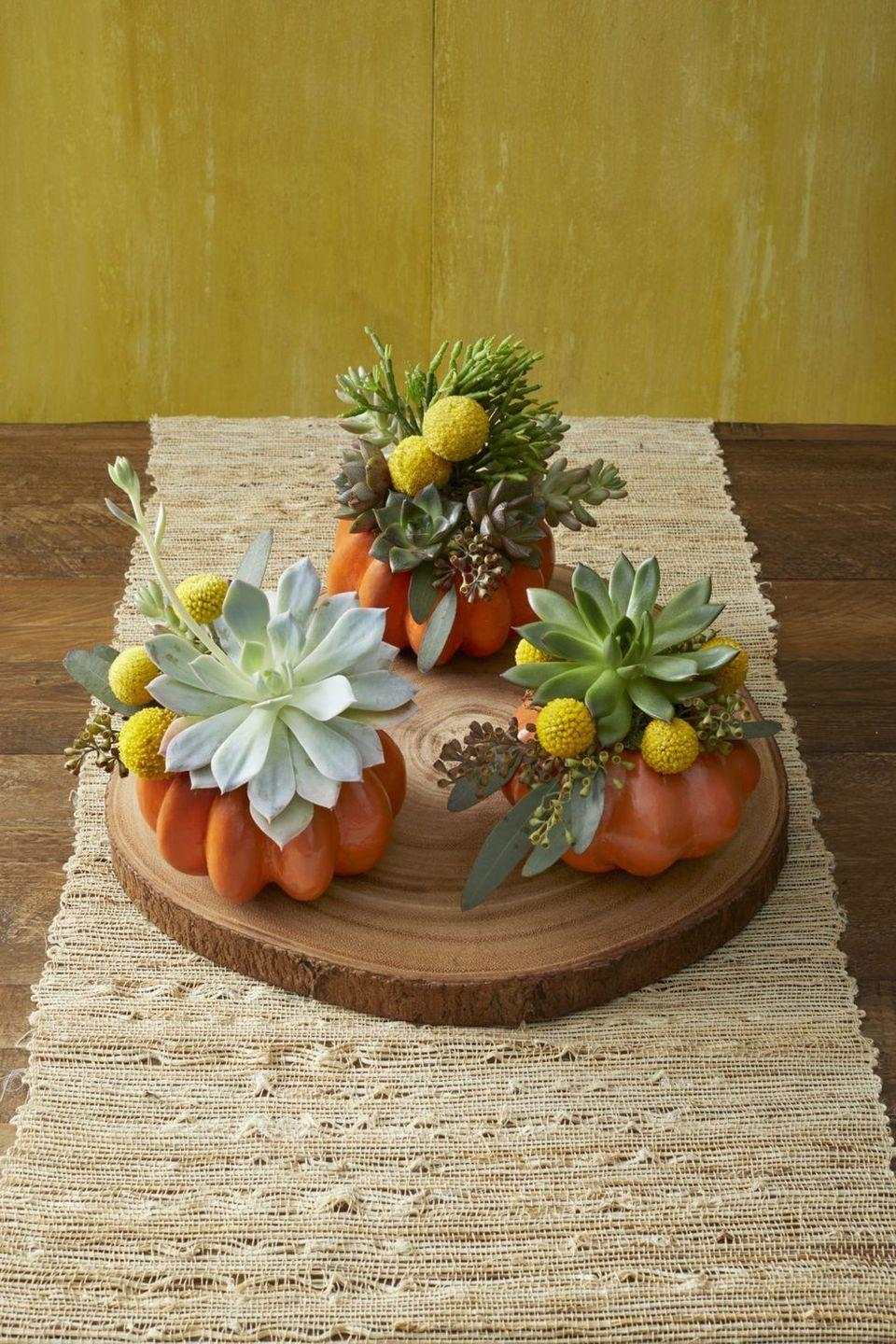 """<p>As if mini pumpkins weren't cute enough already! Here, they're transformed into planters for succulents, which are simply tucked into the carved-out top.</p><p><a class=""""link rapid-noclick-resp"""" href=""""https://go.redirectingat.com?id=74968X1596630&url=https%3A%2F%2Fwww.walmart.com%2Fsearch%2F%3Fquery%3Dsucculents&sref=https%3A%2F%2Fwww.thepioneerwoman.com%2Fhome-lifestyle%2Fcrafts-diy%2Fg36982763%2Fpumpkin-carving-ideas%2F"""" rel=""""nofollow noopener"""" target=""""_blank"""" data-ylk=""""slk:SHOP SUCCULENTS"""">SHOP SUCCULENTS</a></p>"""