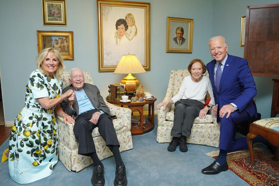 In this April 30, 2021, photo released by The White House, former President Jimmy Carter and former first lady Rosalynn Carter pose for a photo with President Joe Biden and first lady Jill Biden at the home of the Carter's in Plains Ga. (Adam Schultz, The White House via AP)