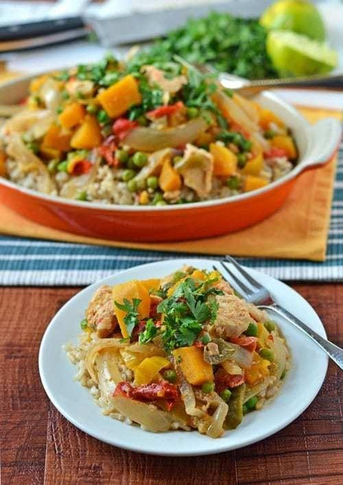 """<p>This recipe is gluten-free, refined-sugar-free, and dairy-free, but it's still the most indulgent. Brown rice, chicken, lots of veggies, and a Thai peanut sauce make this dish impossible to put down after one bite.</p> <p><strong>Get the recipe here:</strong> <a href=""""http://www.wellplated.com/slow-cooker-thai-chicken/"""" class=""""link rapid-noclick-resp"""" rel=""""nofollow noopener"""" target=""""_blank"""" data-ylk=""""slk:slow-cooker Thai chicken"""">slow-cooker Thai chicken</a></p>"""