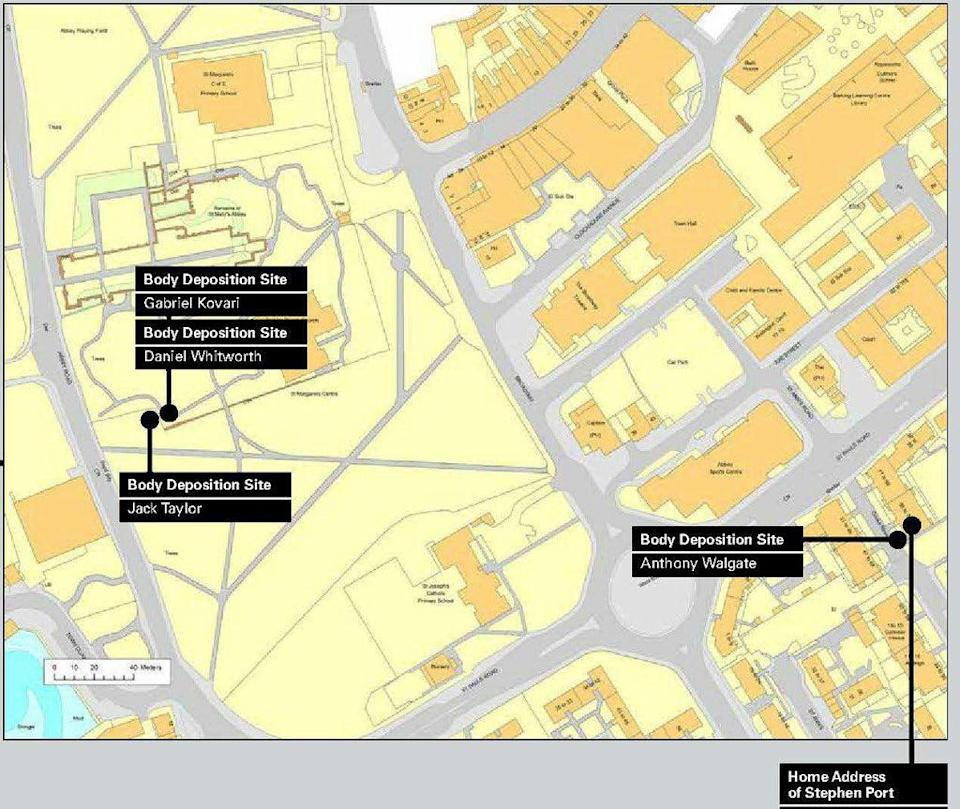 A map showing the spots where bodies were dumped by Stephen Port (Met Police/PA) (PA Media)