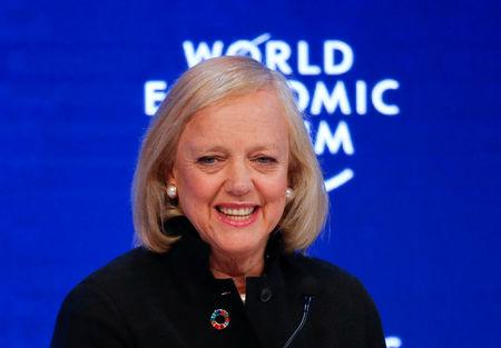 FILE PHOTO: Meg Whitman, President and Chief Executive Officer, Hewlett Packard Enterprise, attends the annual meeting of the World Economic Forum (WEF) in Davos