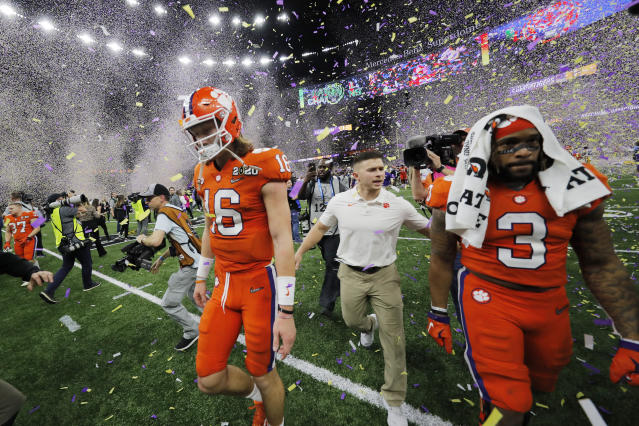 Clemson quarterback Trevor Lawrence will be back in 2020. And Clemson should be back in the College Football Playoff. (AP Photo/Gerald Herbert)
