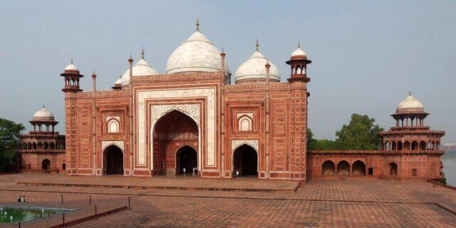 Muslims offer namaz in this mosque located inside the premises of the monument
