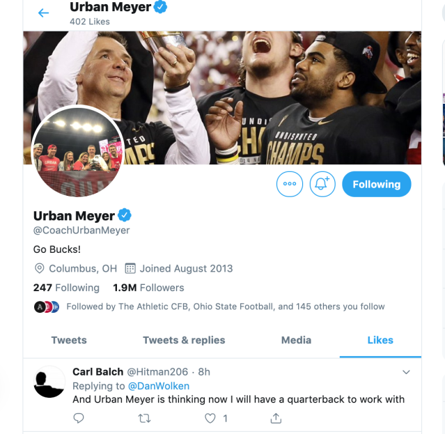 Does Urban Meyer liking this tweet mean anything? (Yahoo Sports screenshot)