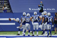 Indianapolis Colts' Jack Doyle (84) celebrates a touchdown reception during the second half of an NFL football game against the Cincinnati Bengals, Sunday, Oct. 18, 2020, in Indianapolis. (AP Photo/AJ Mast)