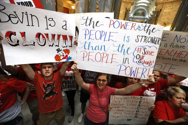"<p>Kentucky Public school teachers protest outside the Kentucky House Chamber as they rally for a ""day of action"" at the Kentucky State Capitol to try to pressure legislators to override Kentucky Governor Matt Bevin's recent veto of the state's tax and budget bills in Frankfort, Ky., April 13, 2018. (Photo: Bill Pugliano/Getty Images) </p>"