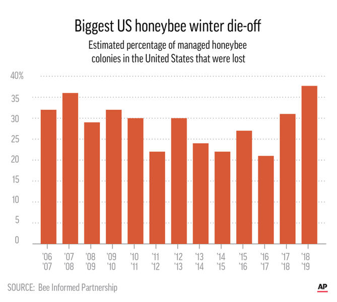 US beekeepers report their worst winter yet for honeybees, losing nearly 38% of colonies.;