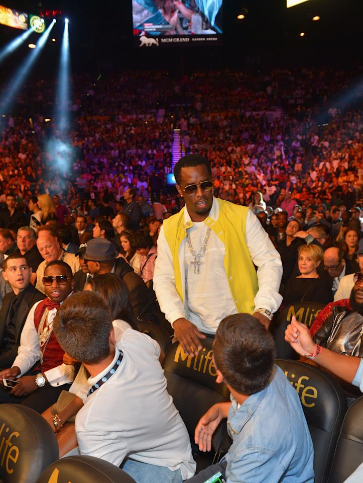 "LAS VEGAS, NV - SEPTEMBER 14: Recording artist Sean ""Diddy"" Combs attends the Floyd Mayweather Jr. vs. Canelo Alvarez boxing match at the MGM Grand Garden Arena on September 14, 2013 in Las Vegas, Nevada. (Photo by Bryan Steffy/Getty Images for Showtime)"