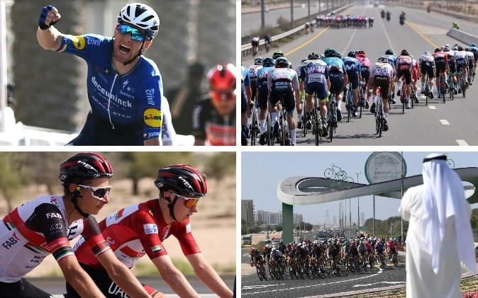 Action from stage six at the UAE Tour — Sam Bennett wins again at UAE Tour as leader Tadej Pogacar is handed 10sec time deduction - GETTY IMAGES