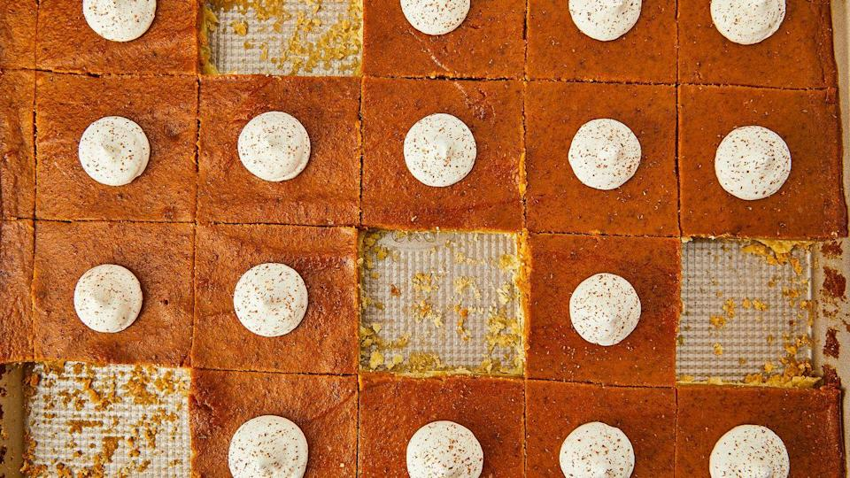 """<p>SO much easier than a traditional pie.</p><p>Get the recipe from <a href=""""https://www.delish.com/holiday-recipes/thanksgiving/a22657646/best-pumpkin-pie-bars-recipe/"""" rel=""""nofollow noopener"""" target=""""_blank"""" data-ylk=""""slk:Delish"""" class=""""link rapid-noclick-resp"""">Delish</a>.</p>"""
