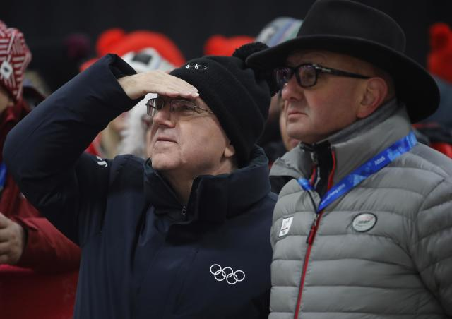 Skeleton - Pyeongchang 2018 Winter Olympics – Women's Finals - Olympic Sliding Center - Pyeongchang, South Korea – February 17, 2018 - IOC President Thomas Bach and Bo Ivo Ferriani, President of the International Bobsleigh and Skeleton Federation attend the event. REUTERS/Arnd Wiegmann