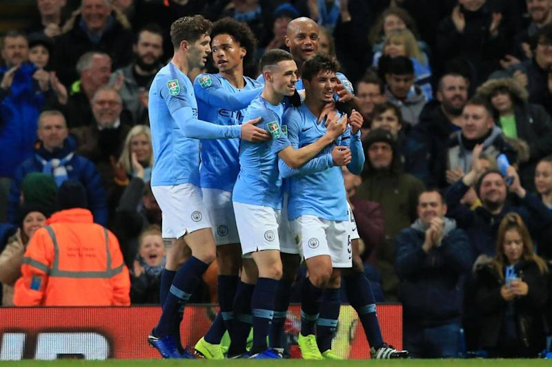 Brahim Diaz celebrates Manchester City's first goal of the night (AFP/Getty Images)