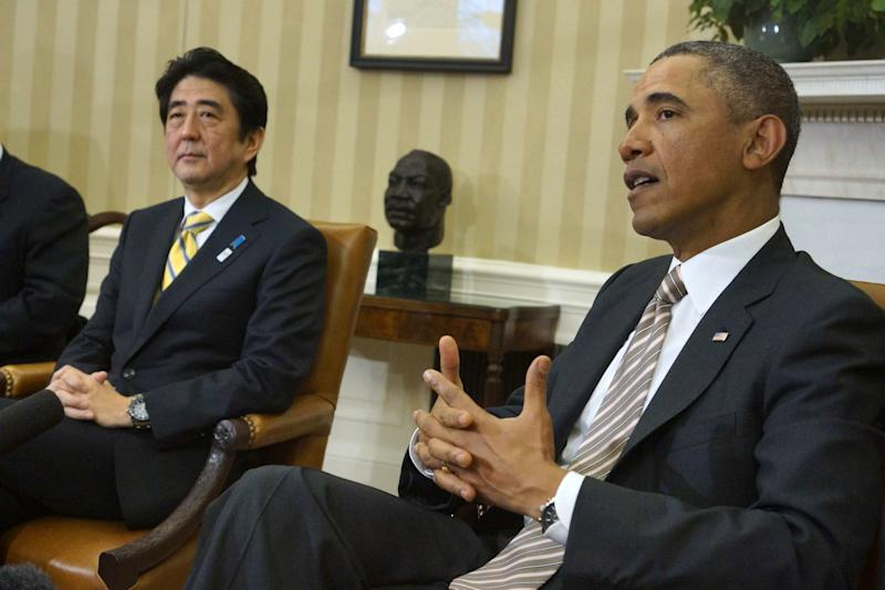 President Barack Obama meets with Japan's Prime Minister Shinzo Abe in the Oval Office of the White House in Washington, Friday, Feb. 22, 2013. (AP Photo/Charles Dharapak)