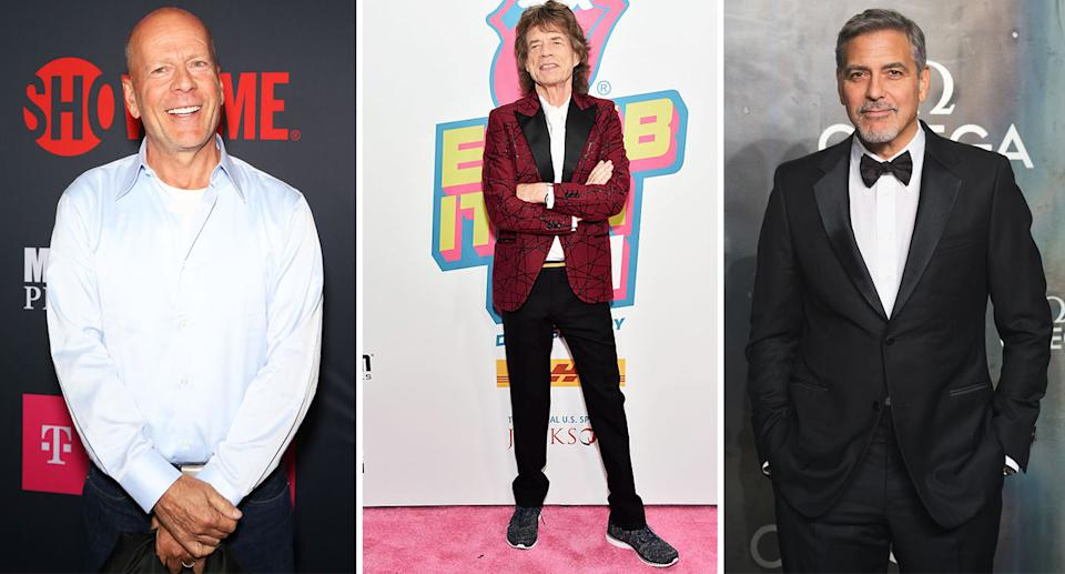 Older celebrity dads include Bruce Willis (left), Mick Jagger (middle) and George Clooney. [Photo: Getty]
