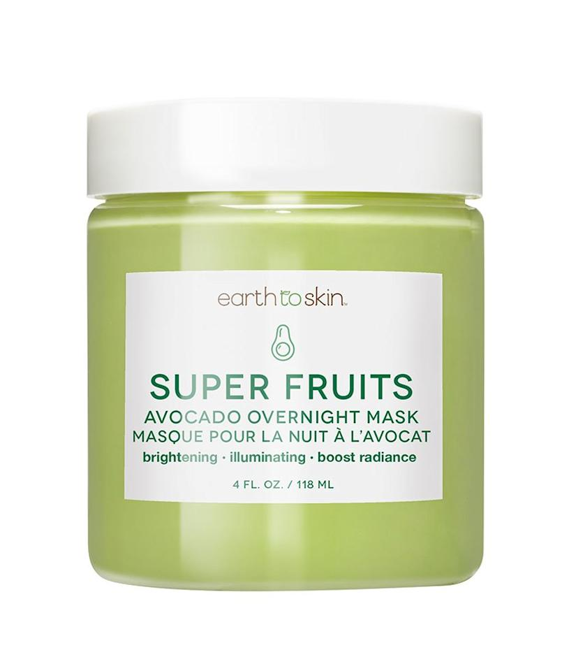 """<p>Made to use while you sleep, this creamy mask works to deeply moisturize and detoxify dull skin. With the addition of vitamin C in the formula, it can help brighten your complexion, too.</p> <p><strong>To buy:</strong> $7; <a href=""""http://goto.walmart.com/c/249354/565706/9383?subId1=MeredithETSDedicatedContent1RSMAlcedo&veh=aff&sourceid=imp_000011112222333344&u=https%3A%2F%2Fwww.walmart.com%2Fip%2FEarth-to-Skin-Super-Fruits-Avocado-Overnight-Mask-4-oz%2F992989877"""" target=""""_blank"""">walmart.com</a>.</p>"""