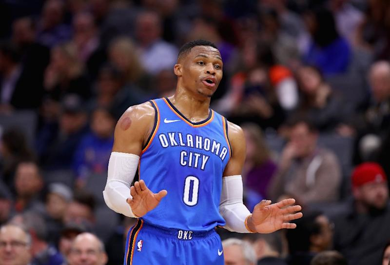 Russell Westbrook of the Oklahoma City Thunder bagged a second consecutive triple double as Oklahoma staged a late rally to sink the Utah Jazz 100-94 (AFP Photo/EZRA SHAW)