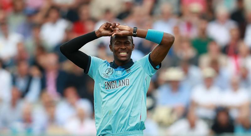 LONDON, ENGLAND - JUNE 25: Jofra Archer of England looks frustrated after failing to take an early wicket during the Group Stage match of the ICC Cricket World Cup 2019 between England and Australia at Lords on June 25, 2019 in London, England. (Photo by David Rogers/Getty Images)