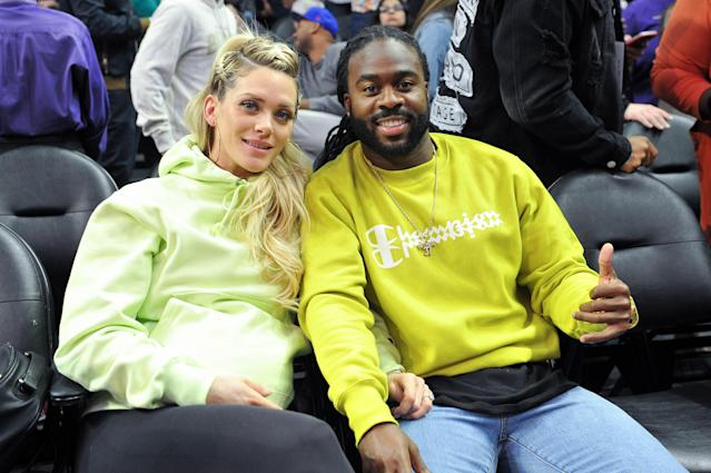 Jahleel Addae and his fiancée, Lindsey Nelson, are taking heat for an Instagram video some people say demonstrates colorism. (Photo: Getty Images)
