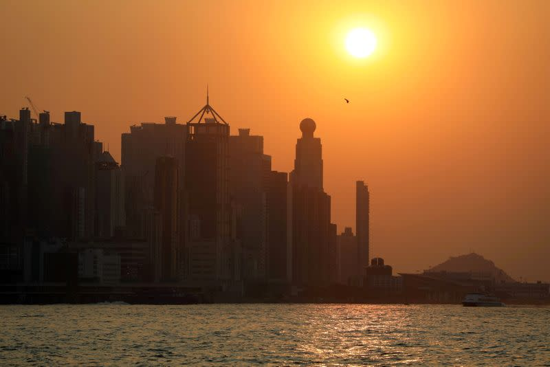 FILE PHOTO: Harbour skyline is seen during sunset in Hong Kong