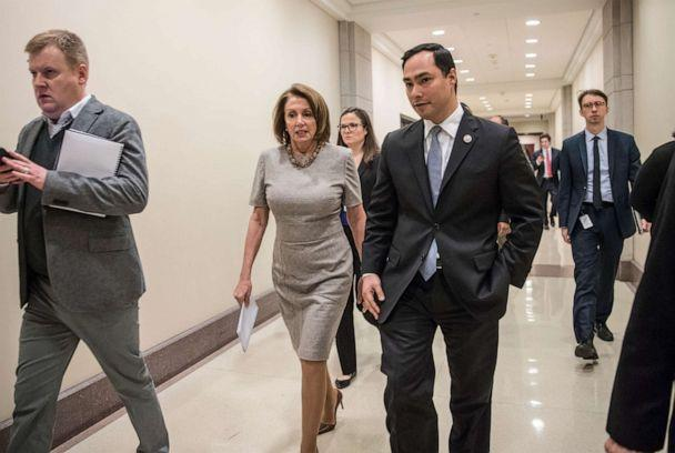 PHOTO: House Minority Leader Nancy Pelosi of Calif. walks with Rep. Joaquin Castro, Feb. 16, 2017, on Capitol Hill in Washington. (J. Scott Applewhite/AP, FILE)