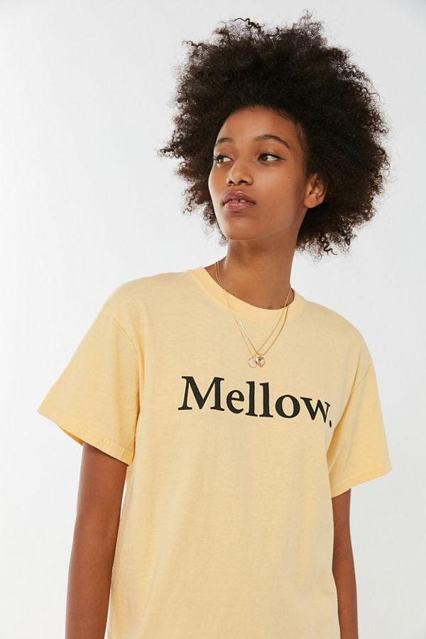 """<p>We love this <a href=""""https://www.popsugar.com/buy/BDG-Mellow-Tee-476787?p_name=BDG%20Mellow%20Tee&retailer=urbanoutfitters.com&pid=476787&price=34&evar1=savvy%3Auk&evar9=46468516&evar98=https%3A%2F%2Fwww.popsugar.com%2Fsmart-living%2Fphoto-gallery%2F46468516%2Fimage%2F46468517%2FBDG-Mellow-Tee&list1=shopping%2Cgift%20guide%2Cyellow%2Cgen%20z&prop13=api&pdata=1"""" rel=""""nofollow"""" data-shoppable-link=""""1"""" target=""""_blank"""" class=""""ga-track"""" data-ga-category=""""Related"""" data-ga-label=""""https://www.urbanoutfitters.com/shop/bdg-mellow-tee?category=SEARCHRESULTS&amp;color=072"""" data-ga-action=""""In-Line Links"""">BDG Mellow Tee</a> ($34).</p>"""