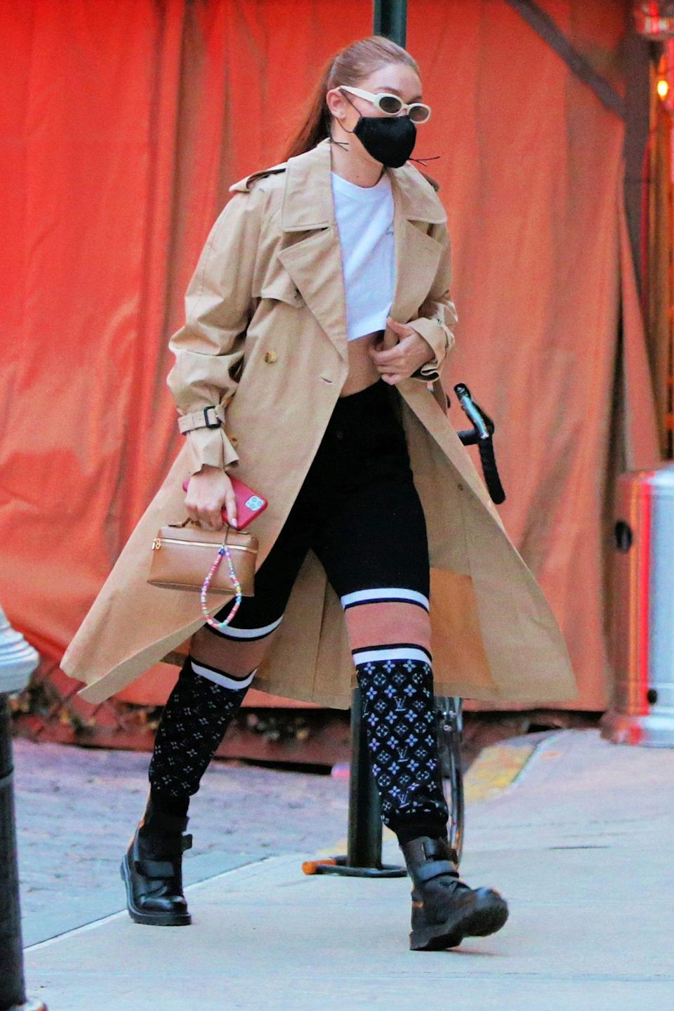 <p>Gigi Hadid heads home after a Maybelline Shoot in N.Y.C. on Tuesday.</p>